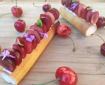 Episode 13 – Hotel La Réserve – Cherry and goats milk yogurt cream pintxo (sweet Basque tapas)